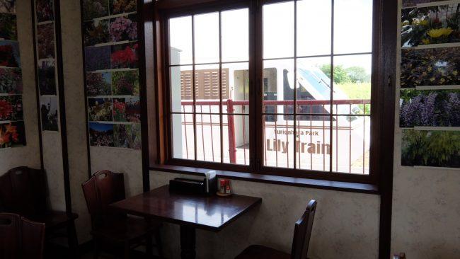 レストランからリリートレインを眺めた様子