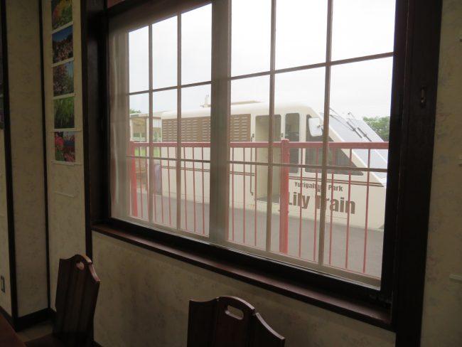 レストランの窓からリリートレインが見えます