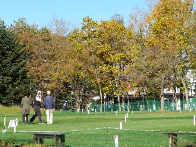 パークゴルフを楽しむ人