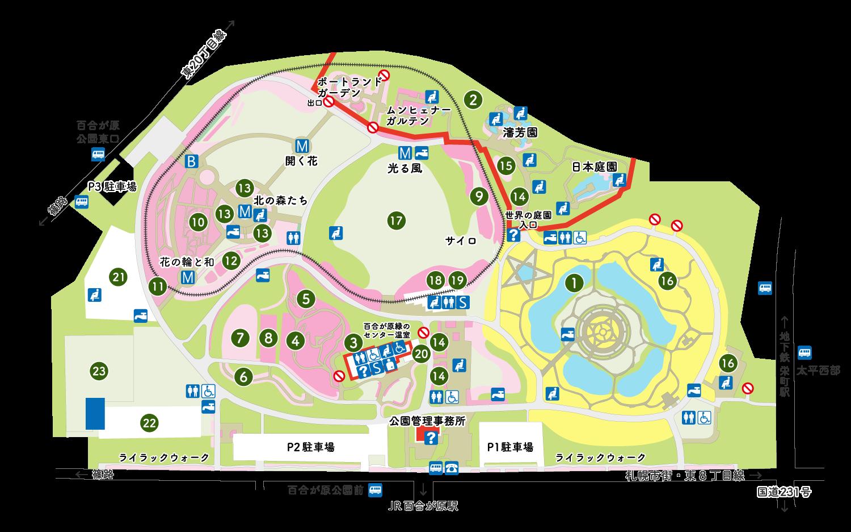 百合が原公園の園内マップ
